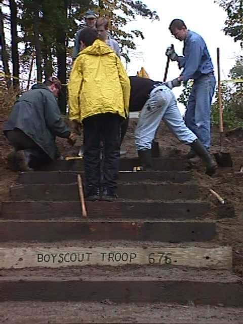 Scouts from Troop 676 Building Stairs Behind Middle School